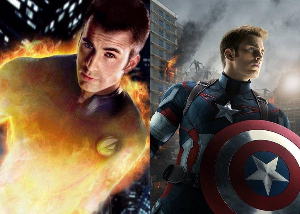 Chris Evans como Antorcha humana y el capitán América